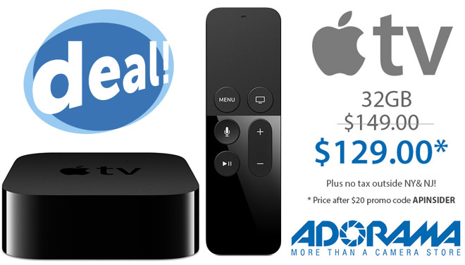 32GB Apple TV for $129 or 64GB Apple TV for $169.95 with no tax outside NY and NJ